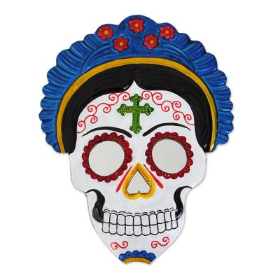 Tin wall mirror, 'Frida Calavera in Blue' (8.5 inch) - Frida Day of the Dead Tin Wall Mirror in Blue (8.5 in.)