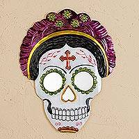 Tin wall mirror, 'Frida Calavera in Fuchsia' (12 inch) - Frida Day of the Dead Tin Wall Mirror in Fuchsia (12 in.)