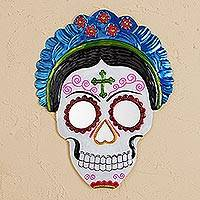Tin wall mirror, 'Frida Calavera in Blue' (12 inch) - Frida Day of the Dead Tin Wall Mirror in Blue (12 in.)