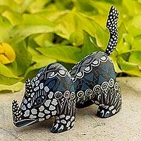 Wood alebrije figurine, 'Grey Rhino' - Copal Wood Alebrije Rhino Figurine in Grey from Mexico