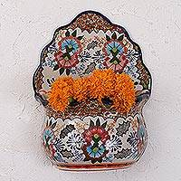Ceramic wall planter, 'Lively Talavera' - Floral Talavera Ceramic Wall Planter from Mexico