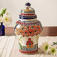 Ceramic decorative jar, 'Magnificent Bouquet' - Hand-Painted Talavera-Style Ceramic Decorative Jar