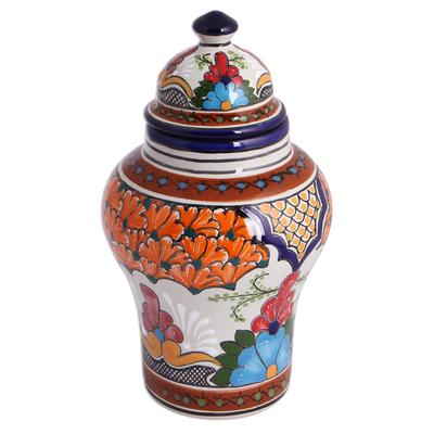 Hand-Painted Talavera-Style Ceramic Decorative Jar