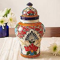 Ceramic decorative jar, 'Talavera Delight' - Talavera-Style Ceramic Decorative Jar from Mexico