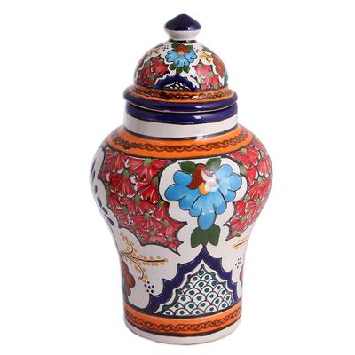 Talavera-Style Ceramic Decorative Jar from Mexico