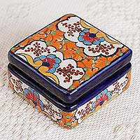 Ceramic decorative box, 'Orange Flowers' - Ceramic Decorative Box with Orange Floral Motifs from Mexico