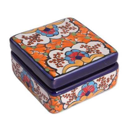 Ceramic Decorative Box with Orange Floral Motifs from Mexico