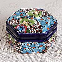 Ceramic decorative box, 'Floral Blue Hexagon' - Hexagonal Floral Ceramic Decorative Box from Mexico