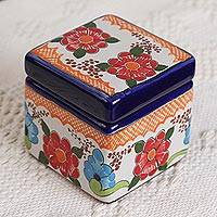 Ceramic decorative box, 'Red Bouquet' - Ceramic Decorative Box with Red Flower Motifs from Mexico