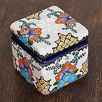 Ceramic decorative box, 'Talavera Bouquet' - Hand-Painted Floral Ceramic Decorative Box from Mexico
