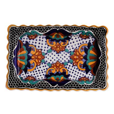 Ceramic platter, 'Zacatlan Flowers' - Floral Talavera Style Ceramic Platter from Mexico