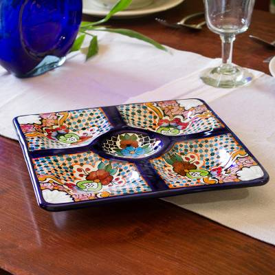 Ceramic appetizer dish, 'Talavera Party' - Ceramic Appetizer Dish with Colorful Floral Motifs