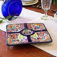 Ceramic appetizer dish, 'Floral Party' - Floral Talavera Style Appetizer Dish from Mexico