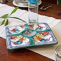 Ceramic appetizer dish, 'Party Delight' - Hand-Painted Ceramic Appetizer Dish from Mexico