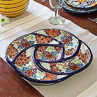 Ceramic appetizer dish, 'Floral Spiral' - Spiral-Shaped Floral Ceramic Appetizer Dish from Mexico