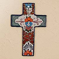 Ceramic wall cross, 'Faithful Talavera' - Hand-Painted Talavera Ceramic Wall Cross from Mexico