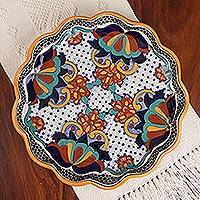 Round ceramic platter, 'Zacatlan Flowers' - Round Talavera Ceramic Platter from Mexico