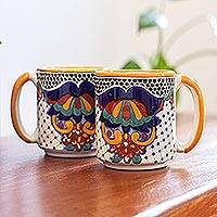 Large ceramic beer steins, 'Zacatlan Flowers' (pair) - Hand-Painted Ceramic Beer Steins Large from Mexico (Pair)