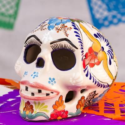 Ceramic sculpture, 'Pink Lips' - Talavera Ceramic Skull Sculpture with Pink Lips from Mexico