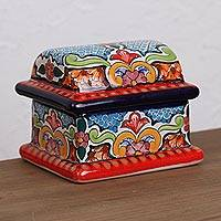 Ceramic decorative box, 'Talavera Protector' - Hand-Painted Ceramic Decorative Box from Mexico