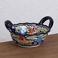 Small ceramic bowl, 'Tezihutlan Flowers' - Round Talavera Ceramic Bowl from Mexico