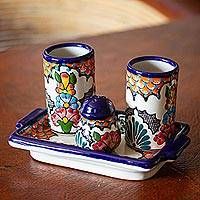 Ceramic tequila set, 'Festive Talavera' - Talavera Style Ceramic Tequila Glass Set from Mexico