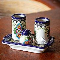 Ceramic tequila set, 'Talavera Celebration' - Floral Ceramic Tequila Glass Set from Mexico