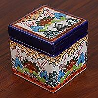 Ceramic decorative box, 'Sweet Talavera' - Talavera-Style Ceramic Decorative Box from Mexico