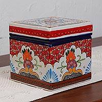 Ceramic tea and sugar holder, 'Talavera Passion' - Talavera Style Ceramic Tea and Sugar Holder from Mexico