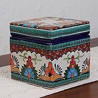 Ceramic tea and sugar holder, 'Verdant Talavera' - Colorful Talavera Style Tea and Sugar Holder from Mexico