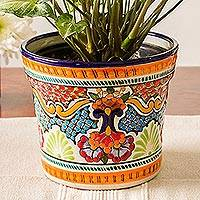 Ceramic flower pot, 'Luscious Bouquet' - Hand-Painted Talavera Ceramic Flower Pot from Mexico