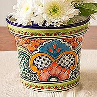 Ceramic flower pot, 'Bright Talavera' - Hand-Painted Ceramic Flower Pot from Mexico