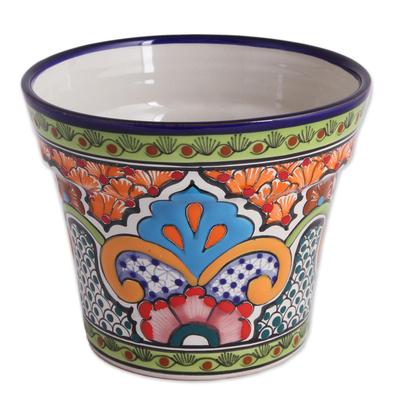 225 & Hand-Painted Ceramic Flower Pot from Mexico \u0027Bright Talavera\u0027