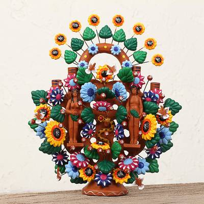 Ceramic sculpture, 'Eden Tree of Life' - Handmade Ceramic Eden Tree of Life Sculpture from Mexico