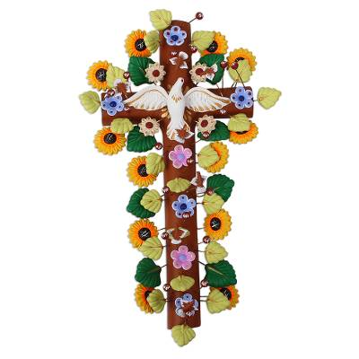 Handcrafted Floral Ceramic Wall Cross from Mexico