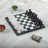Marble and onyx chess set, 'Sophisticated Challenge' - Grey and White Marble and Onyx Chess Set