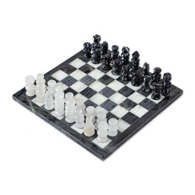 Marble chess set, 'Sophisticated Challenge' - Grey and Ivory Marble Chess Set Handcrafted in Mexico