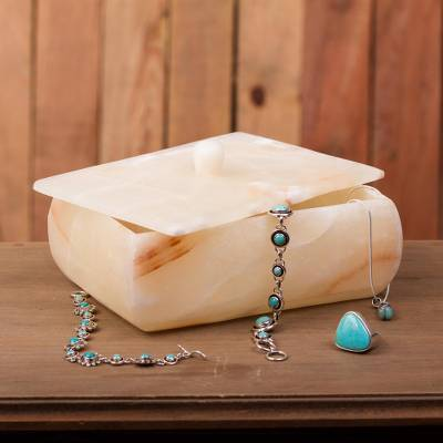 Onyx decorative box, 'Caramel Earth' - Handmade Onyx Decorative Box in Caramel from Mexico