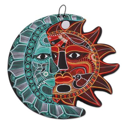 Ceramic wall art, 'Cultural Eclipse' - Hand-Painted Ceramic Eclipse Wall Art in Emerald and Red