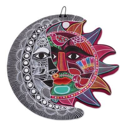 Ceramic wall art, 'Lovely Eclipse' - Hand-Painted Ceramic Eclipse Wall Art from Mexico