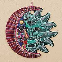 Ceramic wall art, 'Intricate Eclipse' - Hand-Painted Ceramic Eclipse Wall Art in Jade and Mulberry
