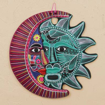 Hand Painted Ceramic Eclipse Wall Art In Jade And Mulberry Intricate Eclipse Novica