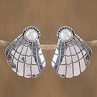 Cultured pearl drop earrings, 'Shell Shine' - Cultured Pearl Seashell Drop Earrings from Mexico