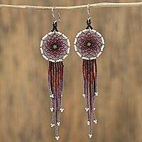 Glass beaded waterfall earrings, 'Dark Rain' - Handcrafted Glass Beaded Waterfall Earrings from Mexico