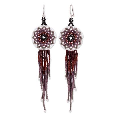 Glass beaded waterfall earrings, 'Dark Rain' - Handcrafted Glass Beaded Waterfall Earrings from Mexico