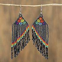 Glass beaded waterfall earrings, 'Floral Shower in Black' - Floral Glass Beaded Waterfall Earrings in Black from Mexico