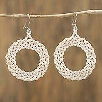 Glass beaded dangle earrings, 'Beautiful Circles in Champagne' - Circular Glass Beaded Dangle Earrings in Champagne