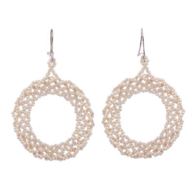 Glass beaded dangle earrings, 'Beautiful Circles in Champagne' - Circular Glass Beaded Dangle Earrings in Champagne