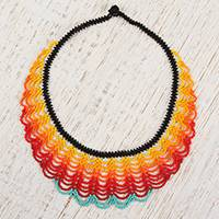 Glass beaded pendant necklace, 'Fiery Bead Waves' - Handmade Glass Beaded Pendant Necklace from Mexico
