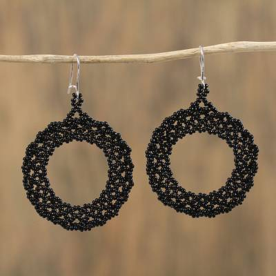 Glass beaded dangle earrings, 'Beautiful Circles in Black' - Circular Glass Beaded Dangle Earrings in Black from Mexico